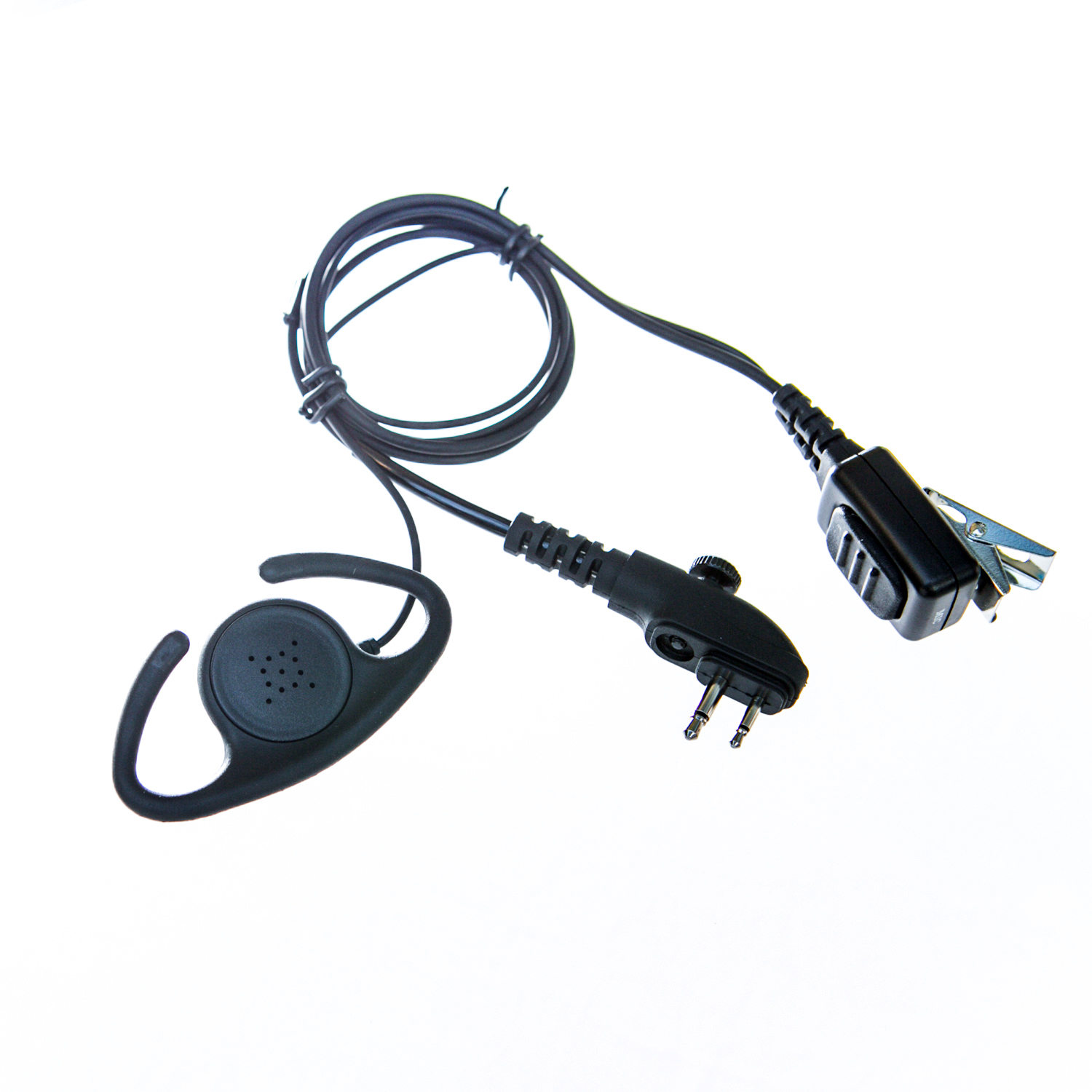 Adjustable D shape earpiece with mic for Hytera radio (2 pin & single screw)